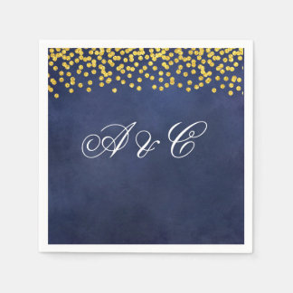 Gold Confetti and Night Sky Party Napkins Paper Serviettes
