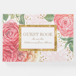 Gold Confetti and Pink Flowers Chic Wedding Guest Book