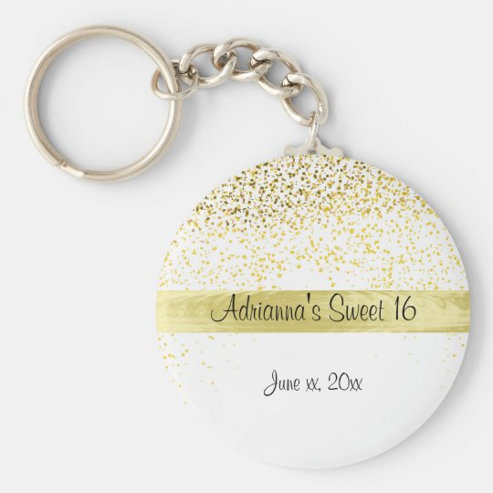 Gold Confetti and Satin, Sweet Sixteen, Custom Key
