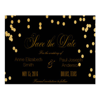 Gold confetti black Save the Date Postcard