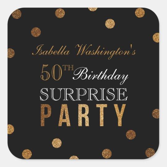 Gold Confetti & Black Surprise Birthday Party Square