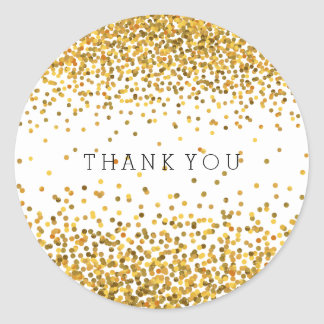 Gold Confetti Bling Thank You Round Sticker