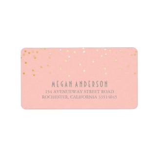 Gold Confetti Blush Pink Wedding Label