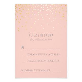 Gold Confetti Blush Pink Wedding RSVP Cards 9 Cm X 13 Cm Invitation Card