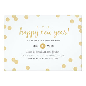 Gold Confetti by Origami Prints New Years Invite