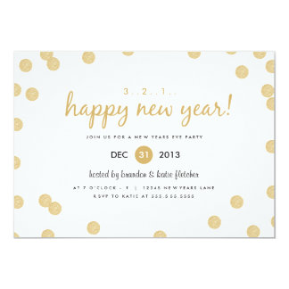Gold Confetti by Origami Prints New Years Invite