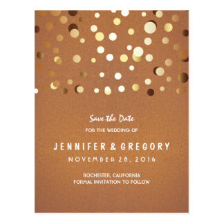 Gold Confetti Casual and Romantic Save the Date Postcard