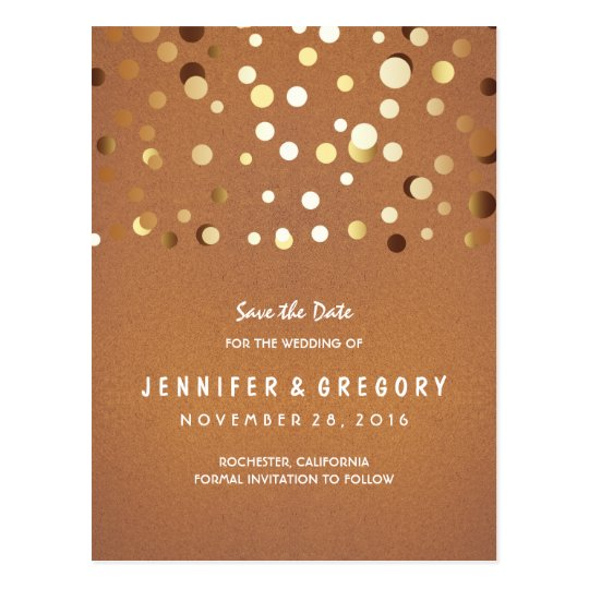 Gold Confetti Casual and Romantic Save the Date