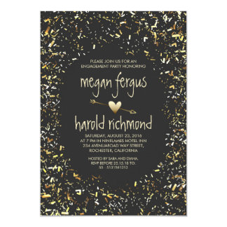 Gold confetti chalkboard engagement party card