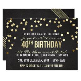 Contemporary 40th birthday invitations announcements zazzle gold confetti chalkboard womans 40th birthday card stopboris Image collections