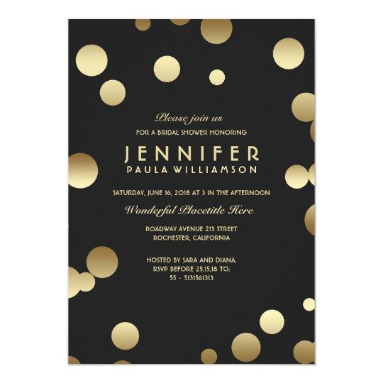 Gold Confetti Chic Modern Bridal Shower Card