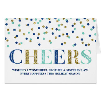 Gold Confetti Christmas Brother & Sister in Law Greeting Card