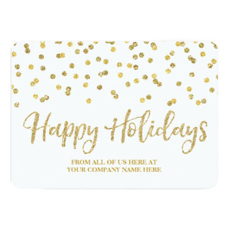 Gold Confetti Christmas Cards Business 13 Cm X 18 Cm Invitation Card