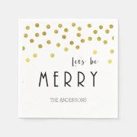 Gold confetti Christmas napkins