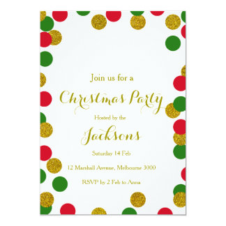 Gold Confetti Christmas Party Invitation