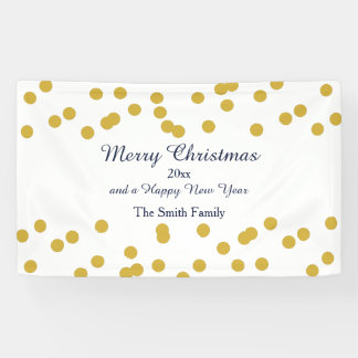 Gold Confetti Christmas Pattern with Blue Banner