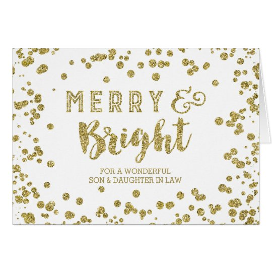 Gold Confetti Christmas Son and Daugher in Law Card