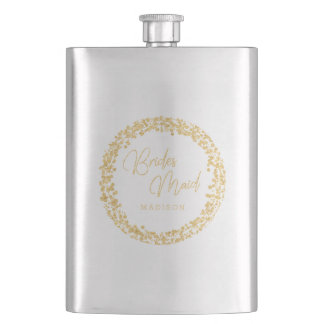 Gold Confetti Circle Frame Wedding Bridesmaid Hip Flask