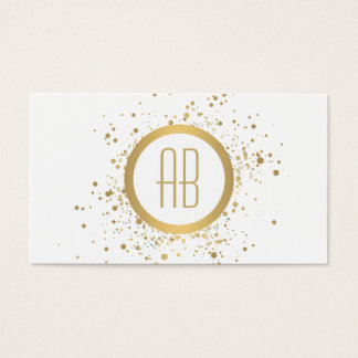 Gold Confetti Circle Monogram White Business Card