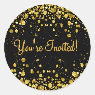 Gold Confetti Classic Round Sticker
