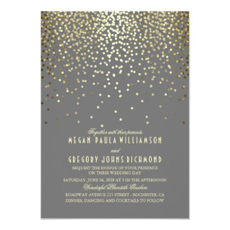 Gold Confetti Dots Elegant and Vintage Wedding Card