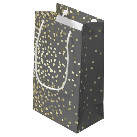 Gold Confetti Dots Elegant Grey Vintage Wedding Small