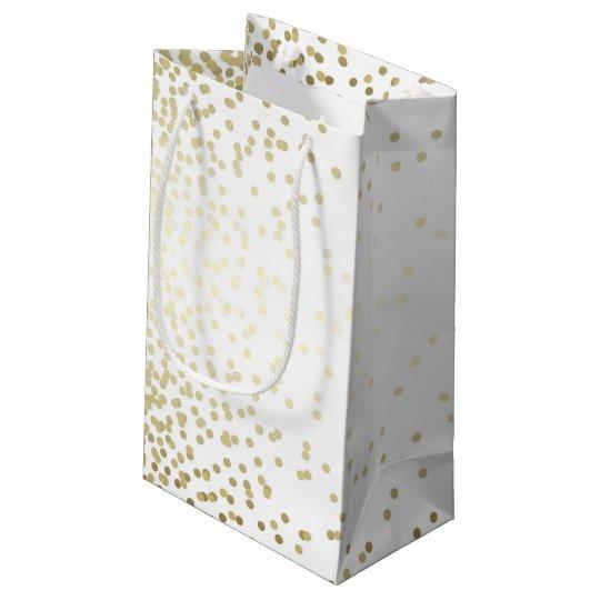 Gold Confetti Dots Elegant White Vintage Wedding Small