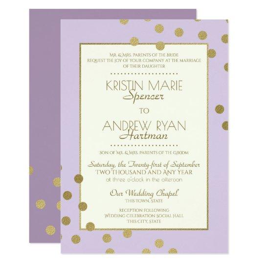 Gold Confetti Dots Lavender Celebration Wedding Card