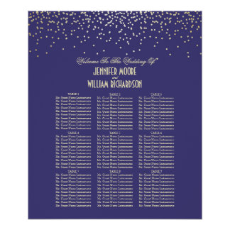 Gold Confetti Dots Navy Wedding Seating Chart Poster