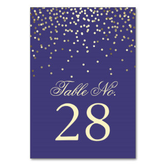Gold Confetti Dots Navy Wedding Table Number