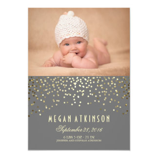 Gold Confetti Dots Newborn Baby Photo Birth Card