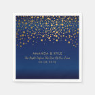 Gold Confetti Dots on Navy Blue Satin Design Disposable Napkin