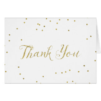 Gold Confetti Dots Thank You Card