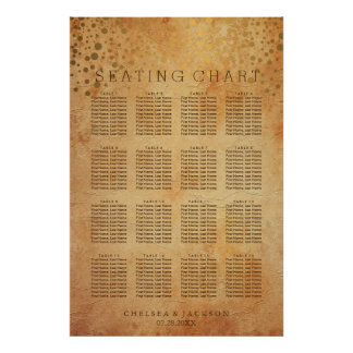 Gold Confetti Dots   Vintage - Seating Chart Poster