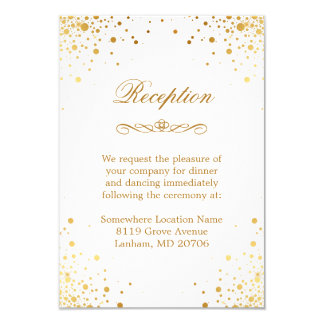 Gold Confetti Dots Wedding Accommodation Reception Card