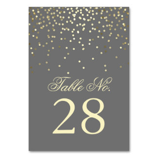 Gold Confetti Dots Wedding Table Number Table Cards