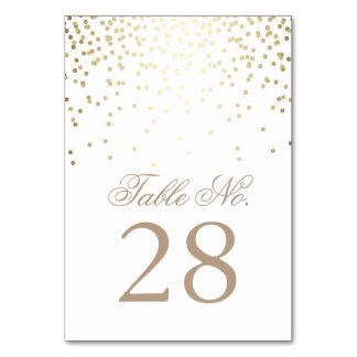 Gold Confetti Dots White Wedding Table Number Table Card