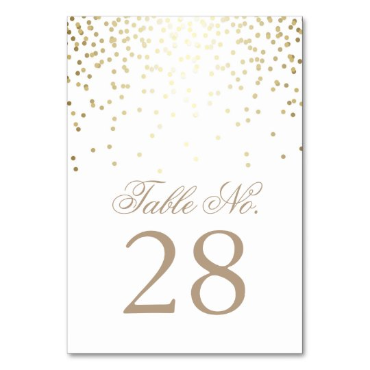 Gold Confetti Dots White Wedding Table Number Table