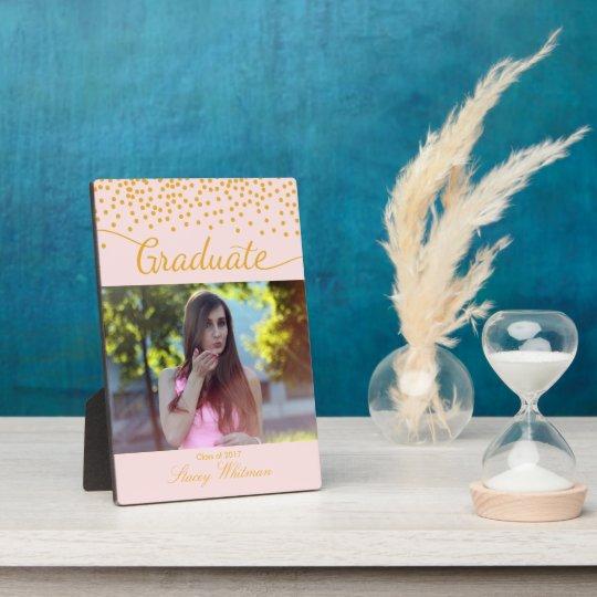 Gold Confetti Editable Colour Graduate Photo Plaque