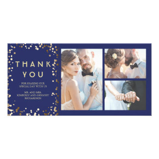 Gold Confetti Elegant Navy Wedding Thank You Photo Card Template