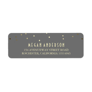 Gold Confetti Elegant Wedding Return Address Label