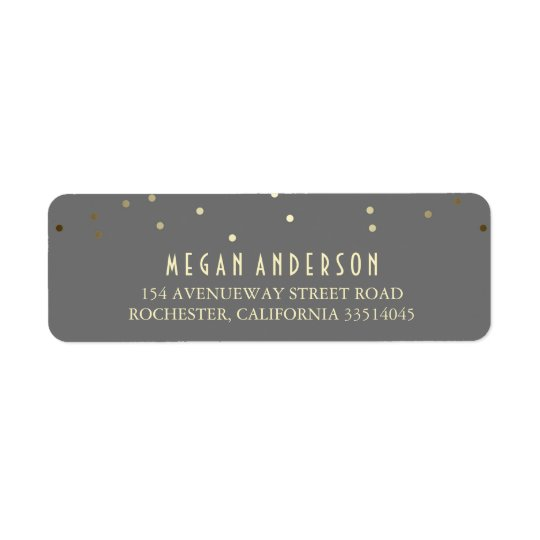 Gold Confetti Elegant Wedding Return Address Label