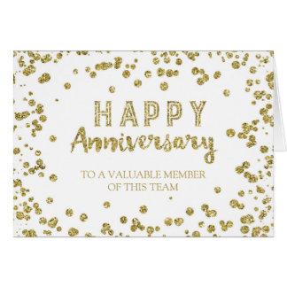 Gold Confetti Employee Anniversary Card
