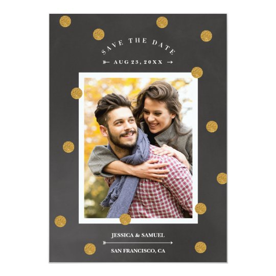 Gold confetti faux foil save the date card