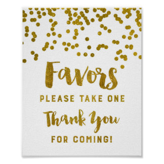 Gold Confetti Favors Sign Thank You For Coming Poster