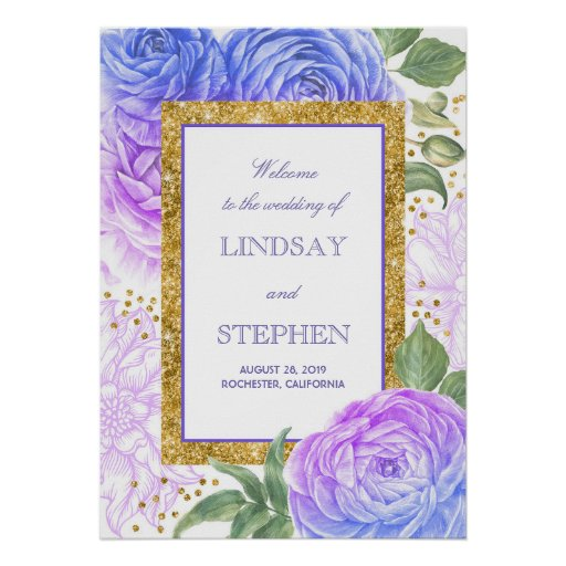 Gold Confetti Floral Blue and Purple Welcome Poster