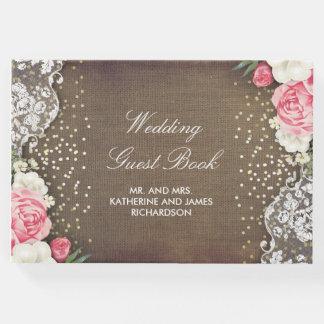 Gold Confetti Floral Burlap Lace Rustic Wedding Guest Book