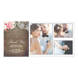 Gold Confetti Floral Lace and Burlap Wedding Photo Card Template