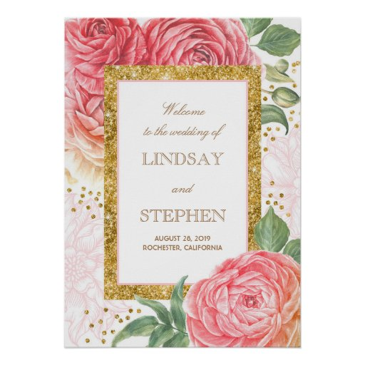 Gold Confetti Floral Pink Wedding Welcome Poster