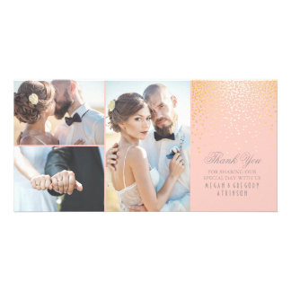 Gold Confetti Glamour Pink Wedding Thank You Personalized Photo Card